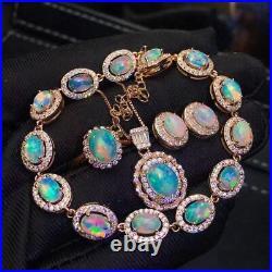 Natural Fire Opal Gemstone Bracelet S925 Silver Pendant Earring Ring Set Gift