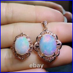Natural Fire Opal Gemstone S925 Silver Plated Rose Gold Pendant Earring Ring Set