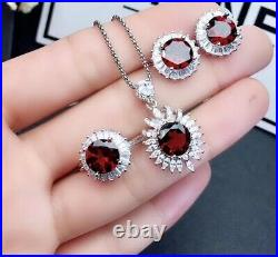 Natural Garnet 925 Silver Sterling Earrings Pendant Necklace Ring Set Women Gift