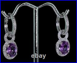 Natural Purple Pink Sapphire & Diamond Huggie Hoop Pendent Earrings 2.69tcw 14k