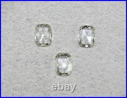 Natural Rose Cut Diamond Cushion Shape Cut 3 Pcs 2.89 Cts Ring Pendant Earring