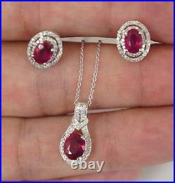 Natural Ruby and Diamond Earrings and Pendant Set Halo Design 14K White Gold