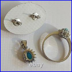 Natural Turquoise CZ 925 Sterling Silver Pendant Earring Ring Jewelry Set Italy