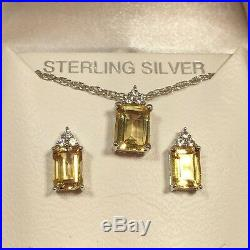 New Sterling Silver Citrine Sapphire Earrings Pendant Necklace Lot Set Ring 7