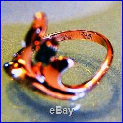 Nouveau Russian Emerald Diamond Earrings Ring Pendant 585 Rose/White 14K Gold