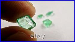 Old Colombian Emerald Octagon Cut 4 Pcs 5.79 Cts Gemstone Earring Ring Pendant