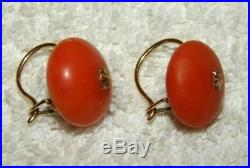 Old Real Antique Natural Red Salmon Coral Earring Brooch Ring Pin Convolute