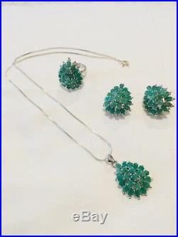 On SALE! A set of Esmeralda earring, pendant, necklace silver 9.50, and ring