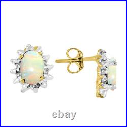Opal & Diamond Pendant, Earrings & Ring Set in 14K Yellow Gold with Chain