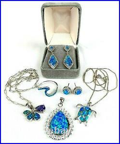 Opal Set in 925 Silver Lot of 6 Blue Ring, Earrings, Necklace, Turtle, Flower