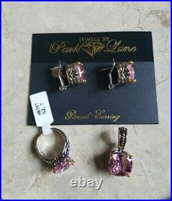 Park Lane Signature Pink Set Bracelet, Pierced Earrings, Pendant and Ring Size 7