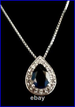 Pear-Shaped Lab-Created Blue and White Sapphire Frame Pendant, Ring and Earring