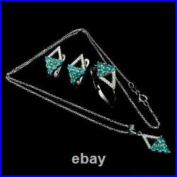 Pendant Earring Ring Blue Apatite Genuine Gems Solid Sterling Silver P US 7.75