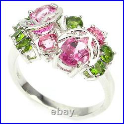 Pendant Earring Ring Genuine Pink Topaz Green Chrome Diopside Sterling Silver 18