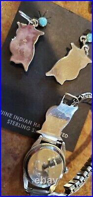 Pitkin Natewa Native American Zuni Owl Watch Bracelet Earrings Pendant Ring Set
