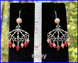 Pollack Sincerely Southwest Silver Coral Fan Pendant Ring Earrings Necklace Set
