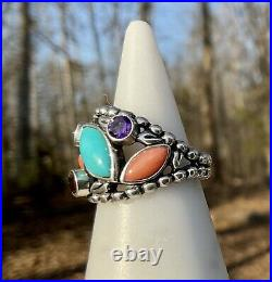 Pollack Turquoise Citrine Amethyst Coral Pendant Necklace Earrings Ring Sz 6 Set