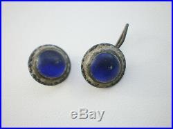 RARE Medieval Glass Stones Wearable PENDANT CROSS + Earrings+ Ring 16-17 cen AD
