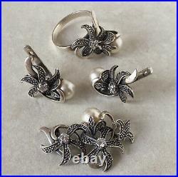 Rare Vintage USSR Sterling Silver Set Pendant Ring Earrings Size 9