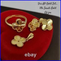 Real 18k Saudi Gold Earring Ring And Pendant Set