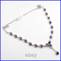 Real AMETHYST Stone 925 Silver Earrings Necklace Pendant Ring Sz 8.5 Jewelry Set