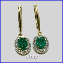 Real Emerald Stone 14K Yellow Gold Ring, Earrings & Pendant Wedding Jewelry Set