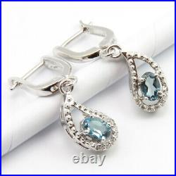 Real LONDON BLUE TOPAZ Stone Silver Earrings Pendant Necklace Ring Size 7.25 Set