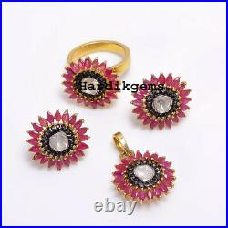 Rose Cut Diamond Uncut Polki Ruby Ring Earring Pendant Victorian Set Jewelry