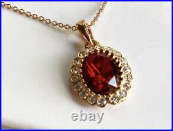 Rose gold finish Red Garnet And diamond necklace earrings and ring Size M Set