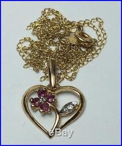 Ruby & Diamond Matching Ring Earring & Pendant Flower Set 10k Yellow Gold Floral