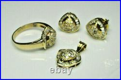 SET 10K YELLOW GOLD with ROUND DIAMONDS & BAGUETTES (RING, PENDANT, EARRINGS)
