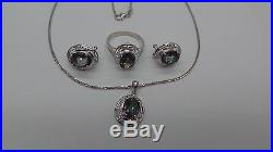 SET OF 14K WG MYSTIC TOPAZ EARRING RING & PENDANT With CHAIN 20 A7872-1 9.60 grm