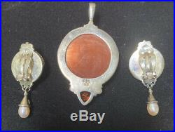 Sajen Sterling Silver Moon Face Goddess Necklace Pendant And Ear Rings Set