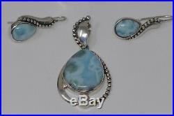 Sajen Sterling Silver Pear Shaped Larimar Pendant Ring Earrings Set