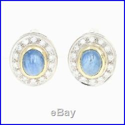Sapphire & Diamond Halo Earrings & Pendant Set 18k Gold Pierced Cabochon 2.37ctw