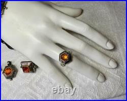 Savati Amber 22K Gold Silver Bracelet Earrings Ring Pendant Suite Parure Greece