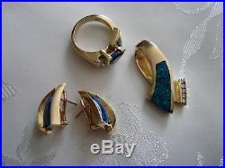 Set Black Opal Diamond Slide Pendant Necklace Earrings Tanzanite Ring 14 K Gold