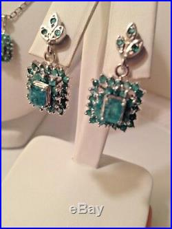 Set Genuine 100% Colombian Emerald, Pendant, Ring, Earring 925 Sterling Silver