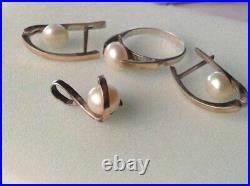 Set Vintage Russian Earrings Ring Pendant Sterling Silver 925 & Gold Pearl Women