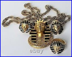 Signed Erwin Pearl Necklace Pendant/Brooch Ring Earring Box Set Egyptian Motif