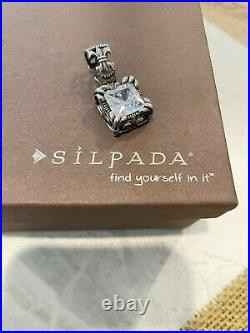 Silpada Uptown Design retired set 925/silver CZ pendant, earrings & ring