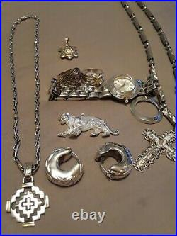 Solid 18k 14k vintage 925 Pendent Earrings Chain class Ring Watch Lot Not Scrap