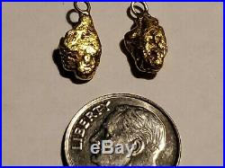 Solid 22K Custom Natural River Gold Nugget Pendant / Ear Rings