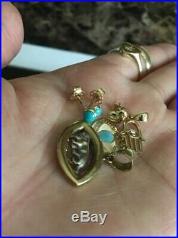 Solid Gold Jewelry Lot 8 Grams Resale Pendants Turquoise Gold Earrings Not Scrap