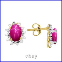 Star Ruby & Diamond Pendant, Earrings & Ring in 14K Yellow Gold Plated silver
