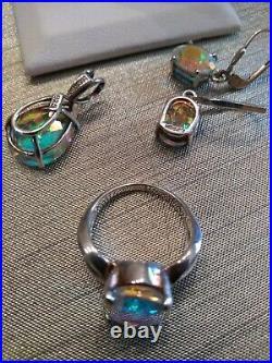 Sterling Silver 925 Badavici Tavalite Gemstone Suite Ring 6 Earrings & Pendant