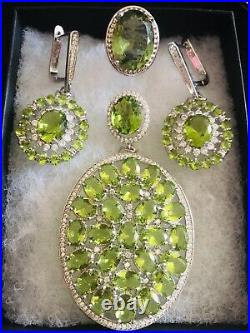 Sterling Silver. 925 Green Peridot And CZ Pendant, Earrings And Ring Jewelry Set