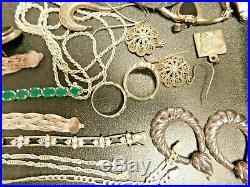 Sterling Silver Jewelry Lot Dealer's Delight Rings Earrings Necklaces Pendants