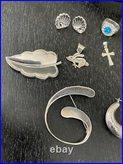 Sterling Silver Jewelry Lot Necklace Bracelet Earrings Rings Pendants & Brooches