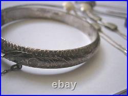Sterling Silver Lot-Vintage Bangle, 2 Pr Earrings, 3 Rings, 1 Chain, 1 Pendant